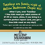 Mellow Mushroom Chapel Hill Tuesday Family Night